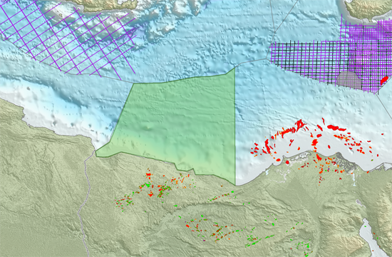 Area in green indicates extent of the MultiClient agreement with EGAS, with relative location to available PGS library data (lilac). Block and field data from PetroView®. (Source: PGS Website