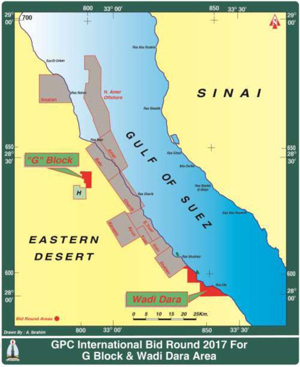 GPC Launches Bid Round For Two Blocks In The Eastern Desert - Map of egypt eastern desert